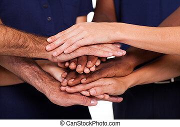 multiracial, samen, handen