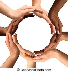 multiracial, vervaardiging, cirkel, handen