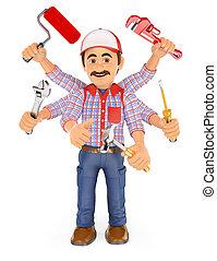 multitasking, zes, handyman, armen, 3d