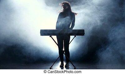 musicus, vasten, smoke., muziek, piano., studio, elektronisch, spelend