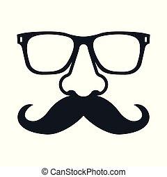 mustachioed, glasses., man