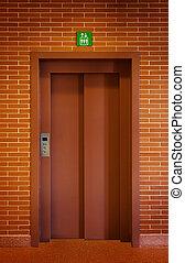 muur, baksteen, deur, lift
