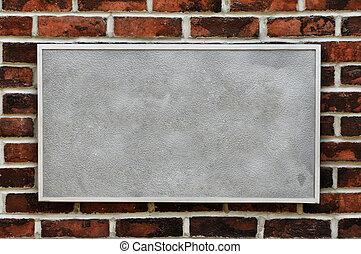 muur, baksteen, metaal voorteken