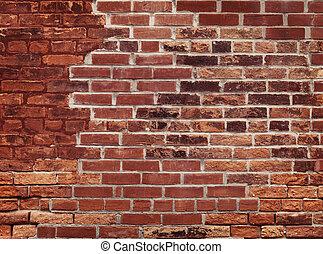 muur, baksteen, oud, rood