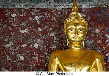 muur, gouden, op, boeddha, grunge