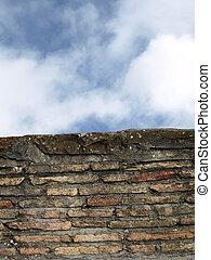 muur, hemel, achtergrond