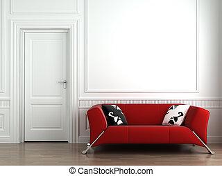 muur, interieur, wit rood, bankstel