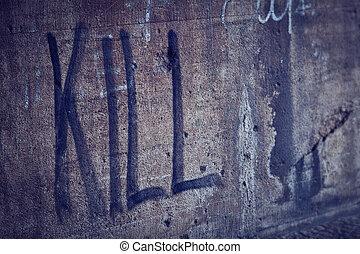 muur, lettering, verpulveren, grunge, doden