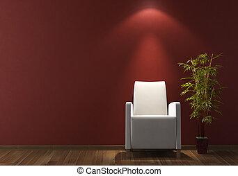 muur, leunstoel, ontwerp, interieur, witte , bordeaux