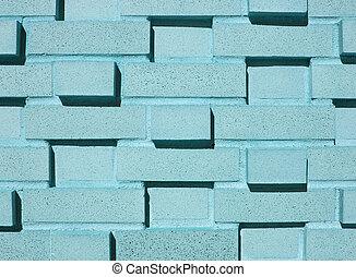 muur, multi-layered, baksteen, blauwgroen