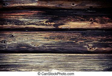 muur, oud, logboeken