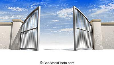 muur, poorten, open