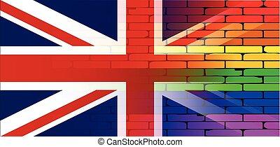 muur, regenboog, dommekracht, vrolijk, unie