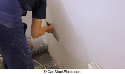 muur, trowel, arbeider, gipsen
