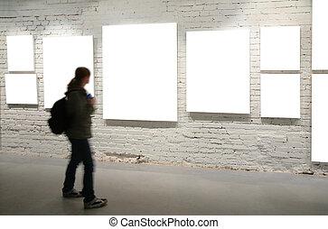 muur, wandeling, door, lijstjes, meisje, baksteen