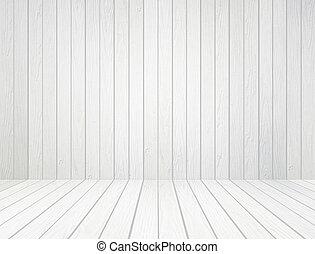 muur, witte , hout, achtergrond, vloer