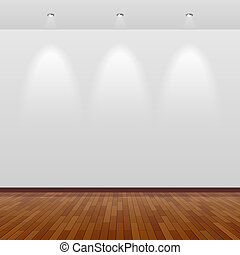 muur, witte , hout, kamer, lege