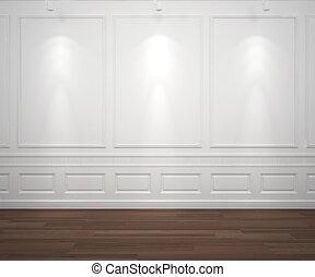 muur, witte , spotslight, classis