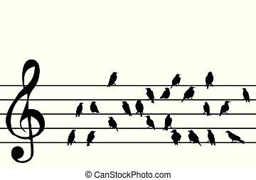muziek, abstract, duig, vogels