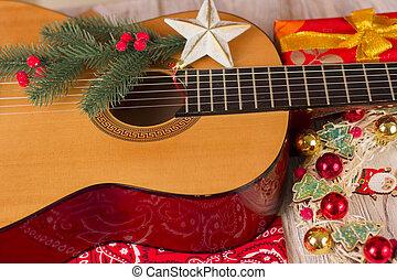muziek, bandanna, kerstmis, land, cowboy, achtergrond, gitaar