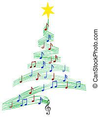 muziek, carol, boompje, kerstmis