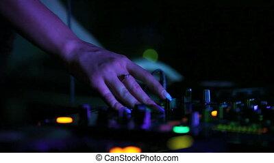 muziek, dj, spelend, nightclub