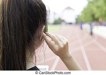 muziek, exercise., luisteren