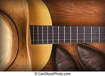 muziek, gitaar, amerikaan, land