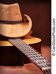 muziek, gitaar, land, afbeelding