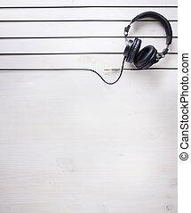 muziek, kunst, achtergrond, studio, dj, headphones