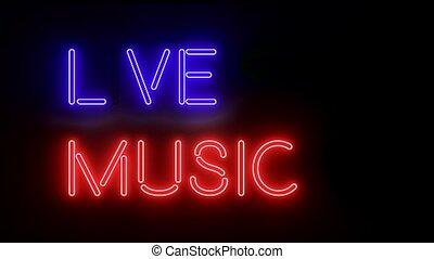 muziek, lichten, gloeiend, tekst, logo, meldingsbord, veelkleurig, neon, leven