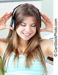 muziek, meisje, mooi, het luisteren