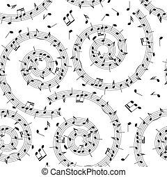 muziek, model, -, vector, achtergrond, seamless, spiraal, opmerkingen