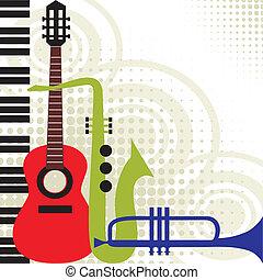 muziek, vector, instrumenten