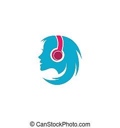 muziek, vrouwen, koptelefoon, luisteren