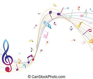 muzikale aantekeningen, veelkleurig