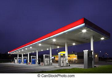 nacht, benzinestation