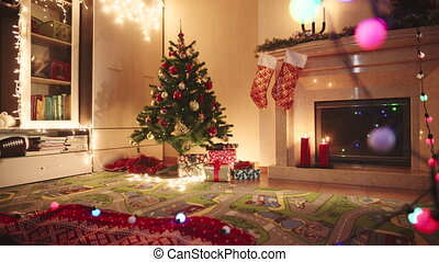 nacht, boompje, kadootjes, het putten, onder, kerstmis, man