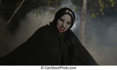nacht, bos, malefic, eruit het komen, vampier, vrouwlijk, maanlicht, zombie, nevelig, halloween, vieren