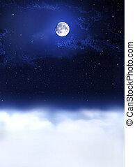 nacht, dreams..., maan, licht