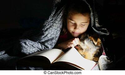 nacht, flashlight, tiener meisje, kind, onder, deken, lezen, dog, lezende , het liggen, boek