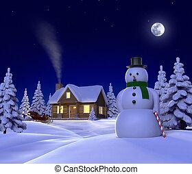 nacht, het tonen, themed, arreslee, cene, sneeuw, sneeuwpop, kerstmis, cabine
