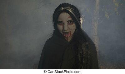 nacht, hout, bloedig, het genieten van, vampier, vrouwlijk, lachen, nevelig, halloween, kwaad