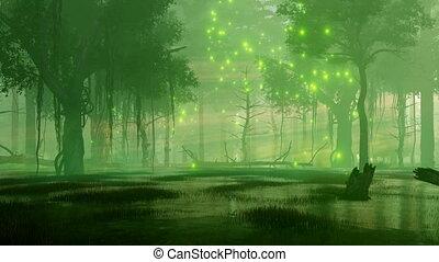nacht, lichten, firefly, 4k, bos, magisch, moeras