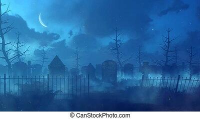 nacht, lichten, graveyard, 4k, magisch, verlaten