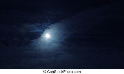 nacht, maan, bewolkte hemel, volle, donker