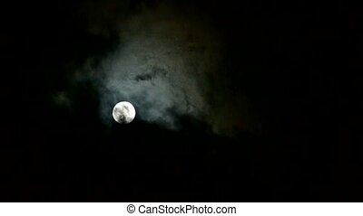 nacht, maan, door, verhuizen, volle, bewolkt