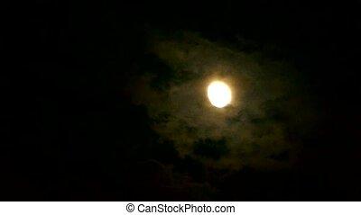 nacht, maan, door, volle, bewolkt
