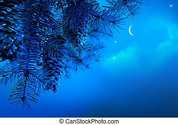 nacht, tak, boompje, blauwe hemel, kunst, achtergrond, kerstmis