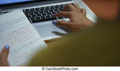 nacht, zoeken, meisje, universiteit, draagbare computer, web, student